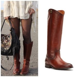 Frye Melissa Cognac Extended Calf Boots Size 8